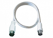 Antenna cable,F Q pl./PAL pl., double shielded, white