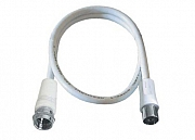 Antenna cable, F plug/PAL jack, double shielded, white